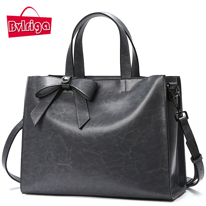 BVLRIGA Genuine Leather Messenger Bags Tote Bag Female Shoulder Bag 2018 Women Handbags Bow Luxury Handbags Women Bags Designer genuine leather handbags 2018 luxury handbags women bags designer women s handbags shoulder bag messenger bag cowhide tote bag