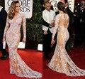 Red Carpet Dresses 2017  Mermaid Long Sleeves Lace Champagne Cheap Famous Imitation Jennifer Lopez Celebrity Dresses