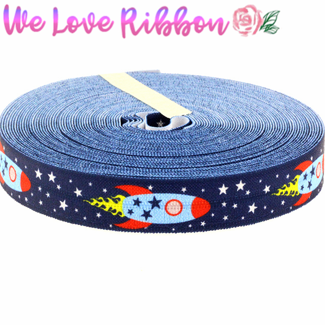 5/816mm Star&rocket Pattern Printed Elastic Ribbon Diy Party Present Pack Decoration 10yards/roll Md1501028-22-2604 Home & Garden Arts,crafts & Sewing