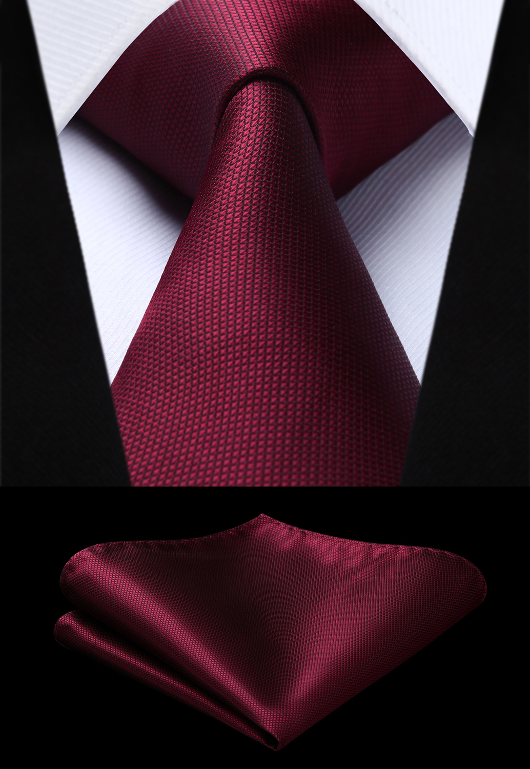 Party Wedding Classic Fashion Pocket Square Tie Woven Men Burgundy Tie Plaid & Check Necktie Handkerchief Set#TC626U8S