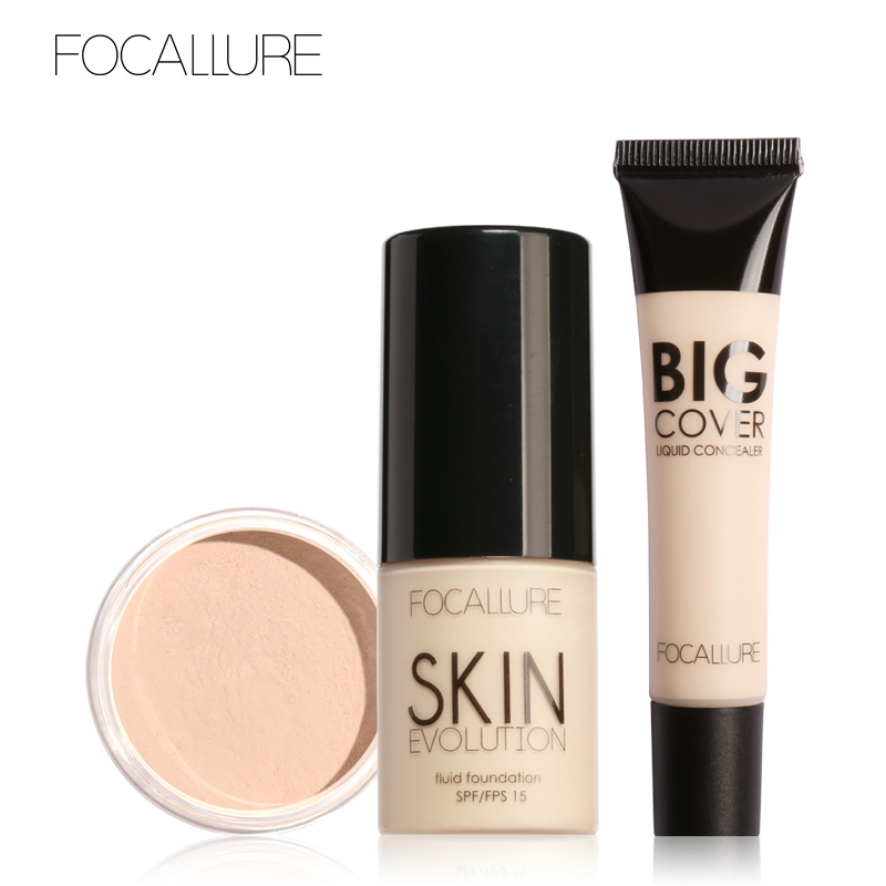 FOCALLURE 3Pcs Face Makeup with Concealer Cream BB & CC Creams Foundation Cream and Setting Powder
