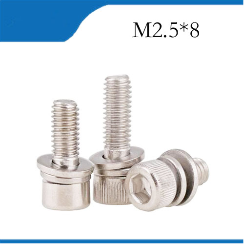 US $8 0 11% OFF 30pcs M2 5*8mm 304 Stainless Steel Inner Hex Bolt Hexagon  Socket Lock Washer Sems Assembly Screwcombination m2 5 bolts,m2 5 nail-in