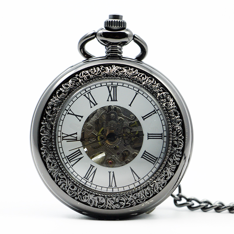 High Quality Antique&Vintage Pocket Watch Mechanical Men Clock With Fob Chain Pendant Watches Mens Womens PJX1218