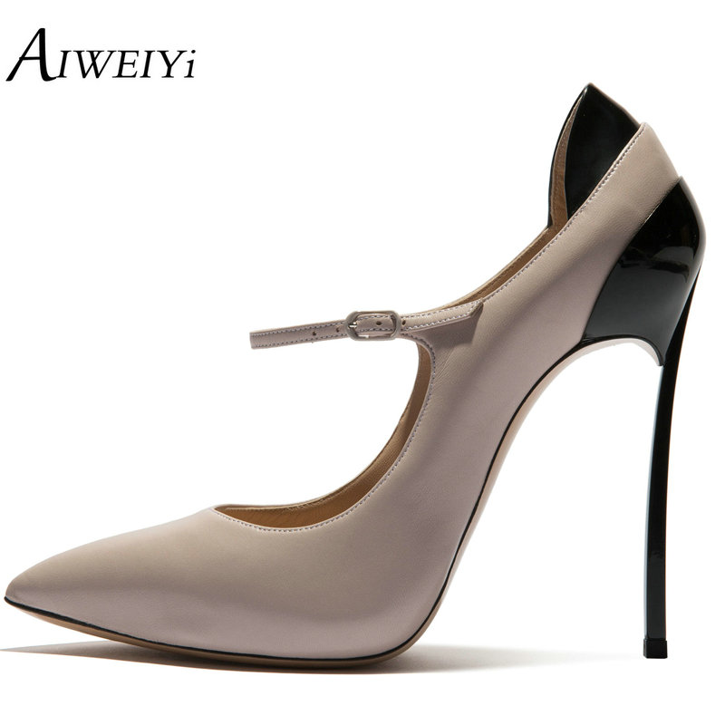 AIWEIYi Woman Shoes High Heels Platform Pumps Stiletto High Heel Women's Shoes Pointed Toe Ankle Strap Ladies Party Dress Shoes aiweiyi 2018 summer women shoes pointed toe stiletto high heel pumps dress shoes high heels gold transparent pvc shoes woman