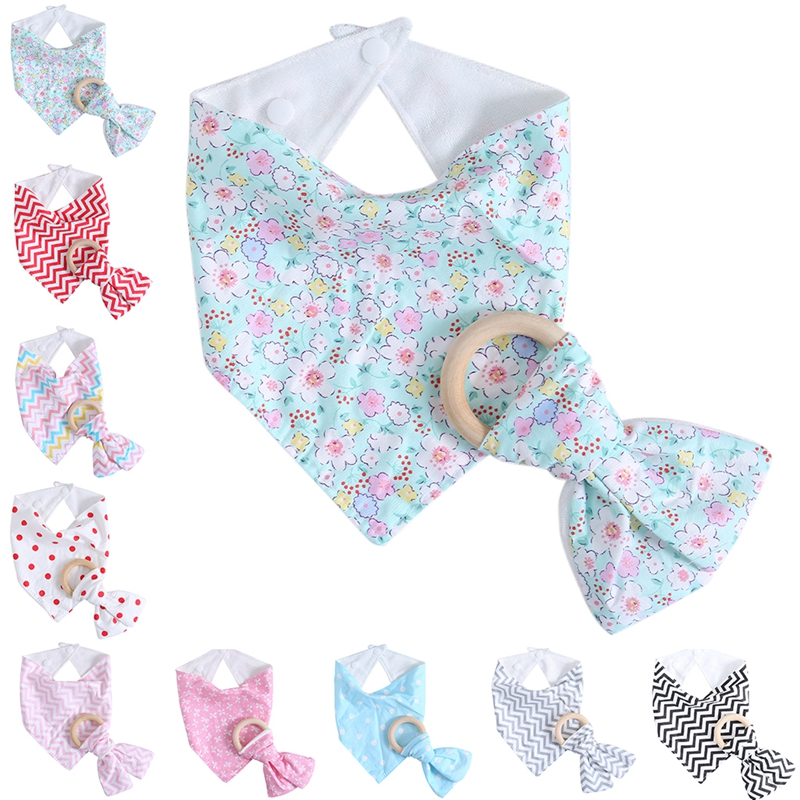 New Arrival 1Set Kids Baby Unisex Feeding Saliva Towel Dribble Triangle Bandana Bibs Teether Ring Baby Toy Gift