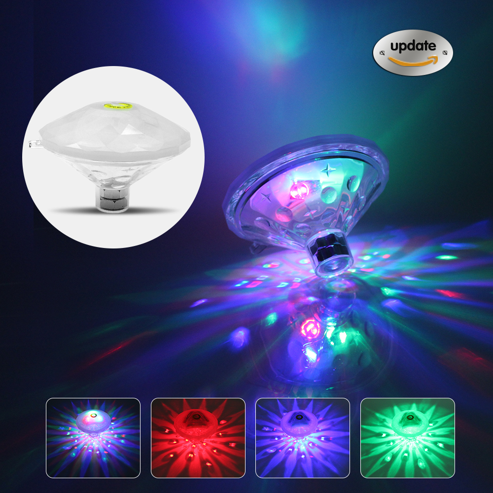 2018 Waterproof LED Swimming Pool Light Underwater Light for Kids Children tub Toy baby floating lamp / Spa Lamp / disco Party environmentally friendly pvc inflatable shell water floating row of a variety of swimming pearl shell swimming ring