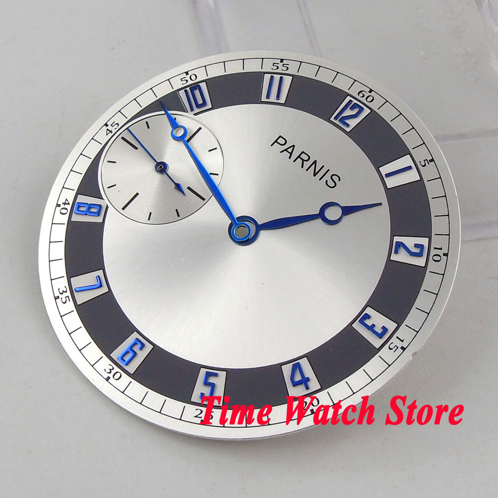 PARNIS 38.3mm silver watch dial blue marks fit eta 6497 <font><b>ST3600</b></font> hand winding movement men's watch (dial+hands) D105 image