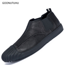 2019 fashion mens shoes casual leather genuine cow platform slip-on loafers suede for men black & red shoe man size 38-44