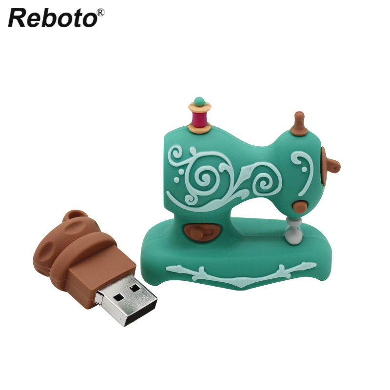 Reboto Sewing Machine USB Flash Drive 32GB 64GB 16GB 8GB USB 2.0 Cute Cartoon Memory Stick 4GB Mini Pendrive U Disk Gift