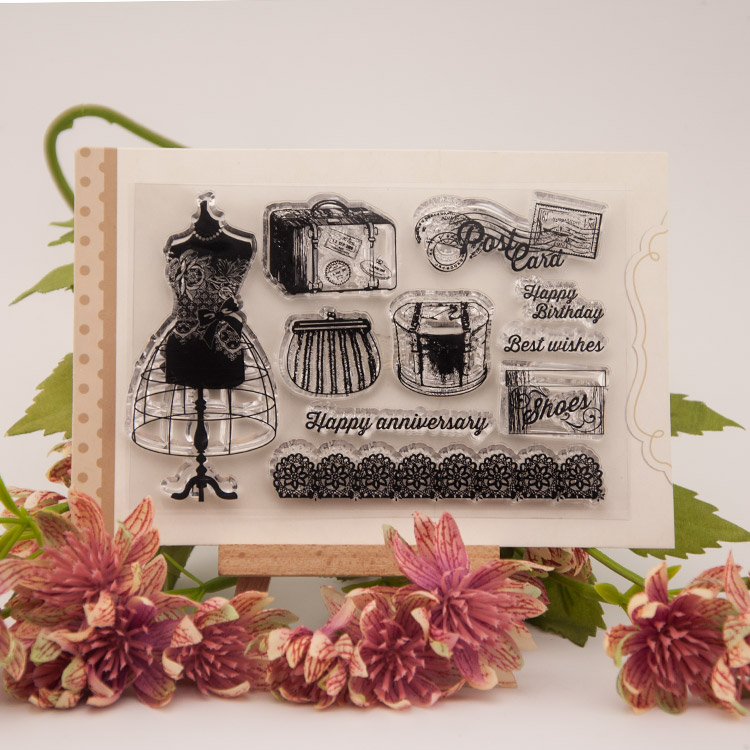Woman clothes cabinet Scrapbook DIY Photo Album Account Transparent Silicone Rubber Clear Stamps Silica gel card pattern gift scrapbook diy photo album account transparent silicone rubber clear stamps 20x28 5cm big size wedding