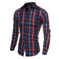 Men Shirts Long Sleeve Casual Red Plaid Shirt Mens Brand Designer Black Striped Plaid Shirt Men Clothing Spring 2016 5093