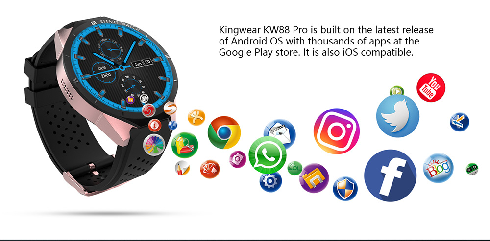 Kingwear Kw88 Pro 3g Smartwatch Buy Watches Online