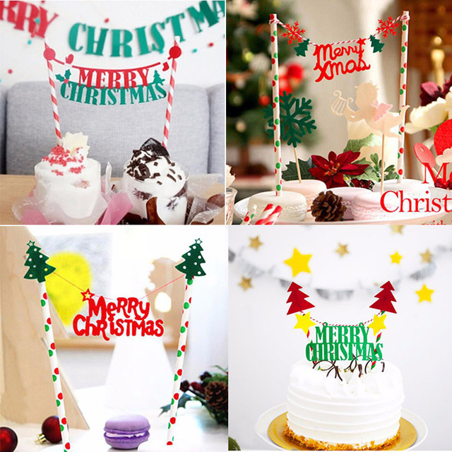 cyuan merry christmas cake topper cake decorations xmas christmas tree cake toppers navidad 2018 ornaments diy
