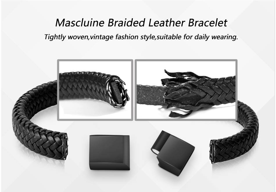 HTB1IgQMX.jrK1RkHFNRq6ySvpXaP - Jiayiqi Punk Men Jewelry Black/Brown Braided Leather Bracelet Stainless Steel Magnetic Clasp Fashion Bangles 18.5/22/20.5cm