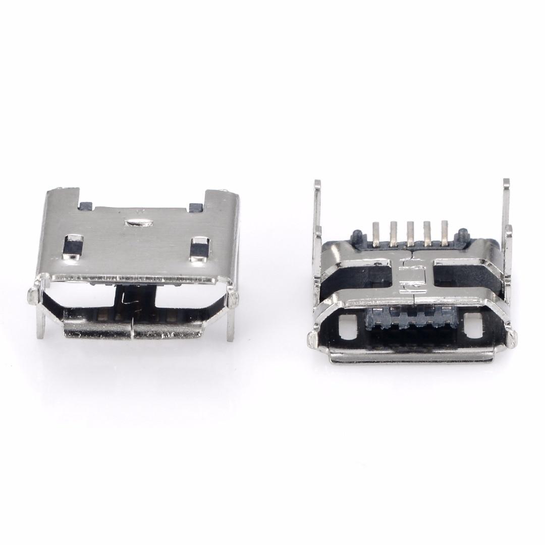 цена на 10Pcs 5pin Micro USB Female Socket Type B 4 Vertical Legs Soldering Connectors For Mobile Phone