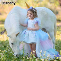 Рождественское пышное платье принцессы с единорогом для девочек; великолепное свадебное платье с открытой спиной и длинным шлейфом; Детски...