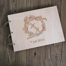 Свадебная Гостевая книга Роза персонализированные Свадебный фотоальбом Румяна цветочный венок гость войти в книге фот