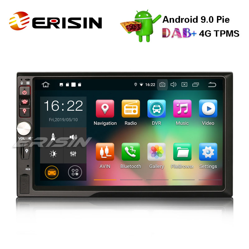 Erisin GPS OBD2 Car-Stereo Satnav DAB Wifi Android 9.0 TPMS Double-Din DTV-IN ES7941U