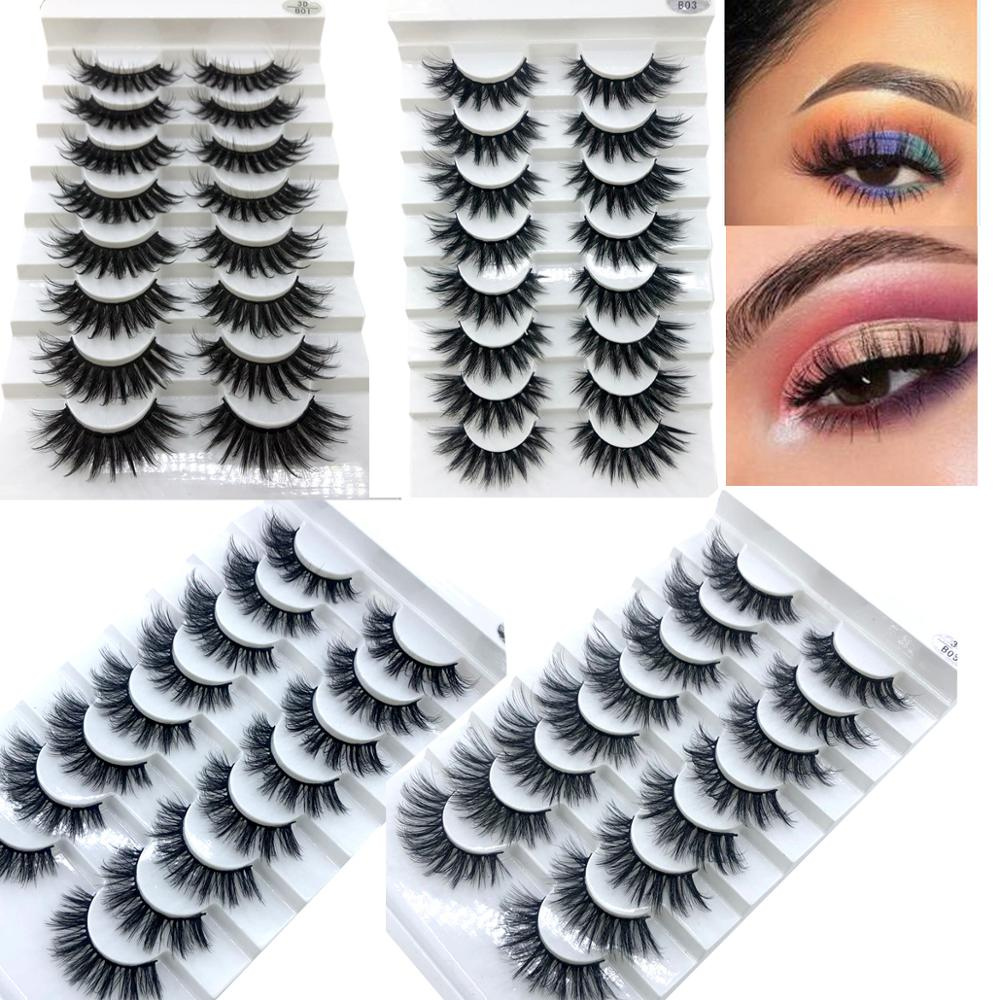 HBZGTLAD 5/8 /10 Pairs 3D Mink Hair False Eyelashes Natural/Thick Long Eye Lashes Wispy Makeup Beauty Extension Tools-in False Eyelashes from Beauty & Health