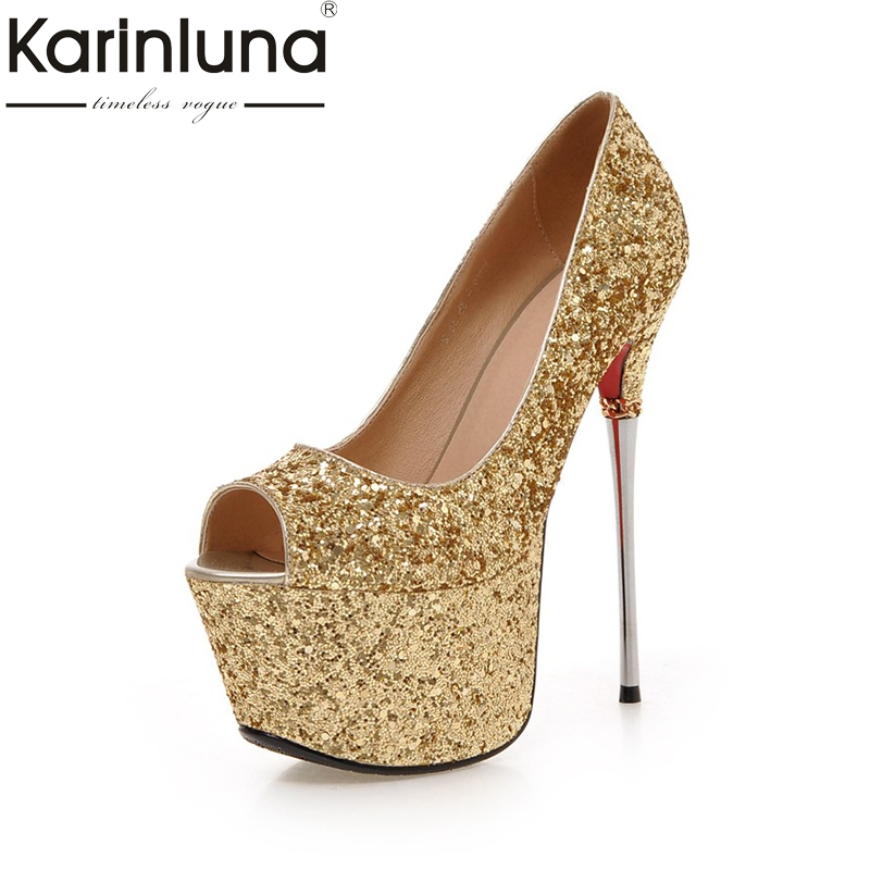 KarinLuna New Big Size 32-43 Peep Toe Summer Party Shoes Women Sexy 16cm Thin High Heels Bling Upper Pumps Shoes odetina 2018 fashion women super high heels platform pumps stilettos peep toe extreme high heels 16cm party shoes big size 31 48