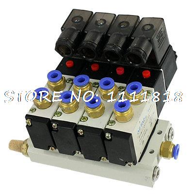 DC 24V 2 Positions Quadruple Solenoid Valve Quick Fittings Base Mufflers Set 4v series 24v dc solenoid valve