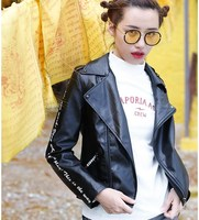 Jessica's Store New Autumn Women Streetwear Punk Personalized Print Rivet All Match High Quality Of PU Leather Slim Short Jacket