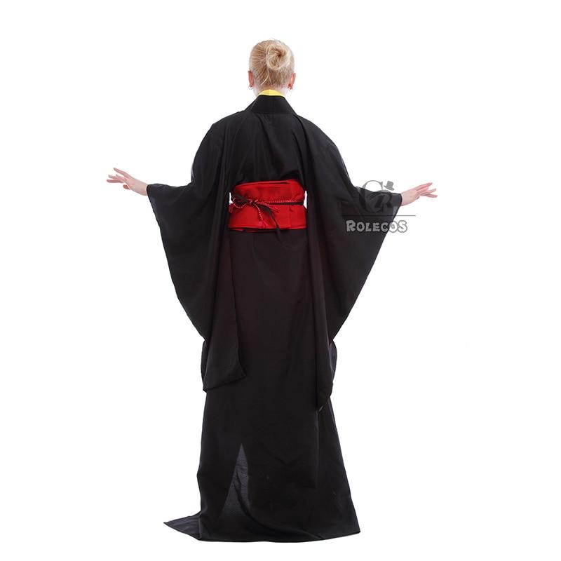 Rolecos Japanese Kimono Women Traditional Black Yukata Cosplay - Pakaian kebangsaan - Foto 5