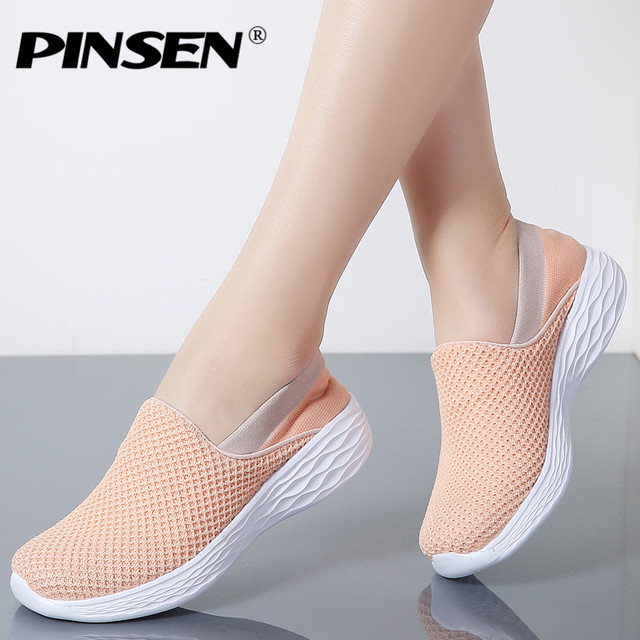 PINSEN 2019 Spring Women Sneakers Breathable Mesh Shoes Woman Ballet Slip  On Flats Loafers Ladies Shoes 6b8c3481a86f