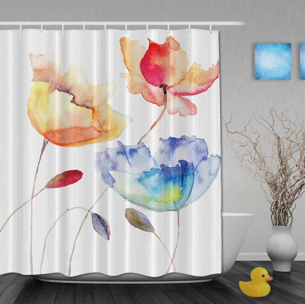 Custom Summer Flowers Watercolor Shower Curtains Waterproof High Quality Home Decrations With Hooks Bathroom Curtain