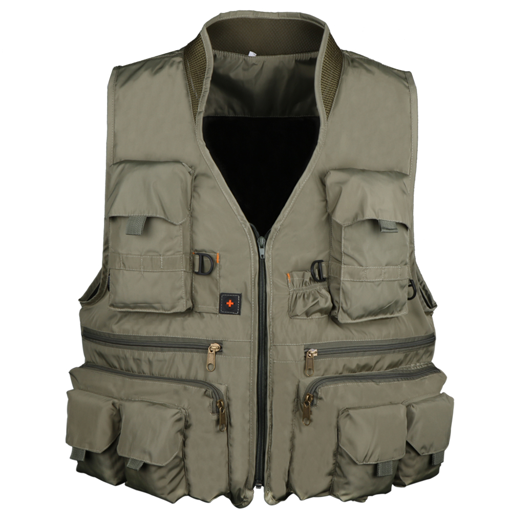все цены на Pisfun New Fishing Vest Outdoor Hiking Hunting Multi Pocket Vest Waistcoat Men Fishing Jackets Army Green L XL XXL онлайн