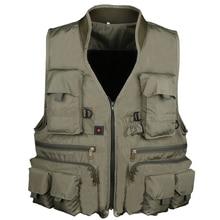 Pisfun New Fishing Vest Outdoor Hiking Hunting Multi Pocket Vest Waistcoat Men Fishing Jackets Army Green L XL XXL