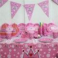 Mi princesa corona primera tema cumpleaños decoración de una familia de party girl set 10 persona 91 unids vajilla conjunto baby shower