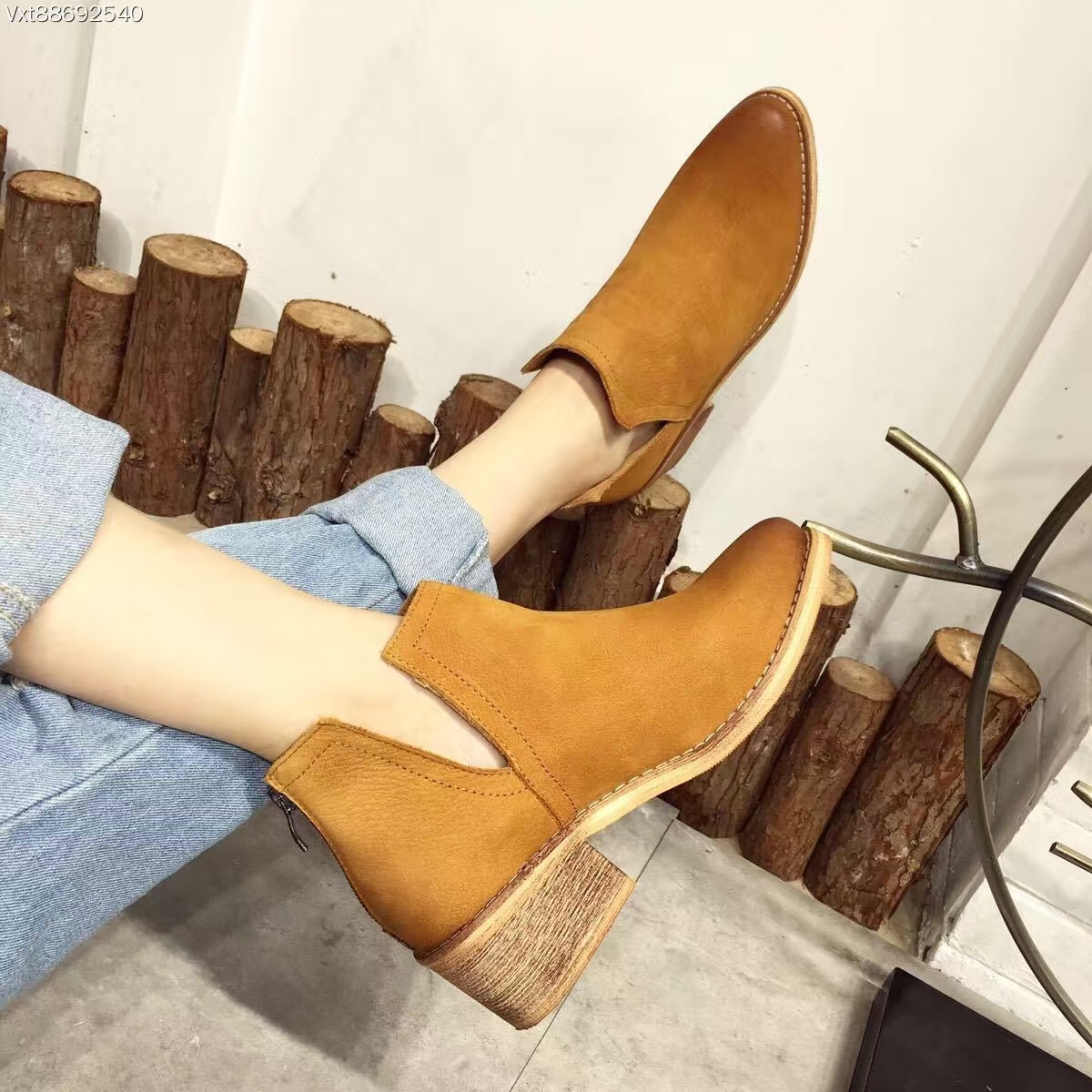 ФОТО 2016 New Arrival Fashion Women's Ankle Boots Genuine Leather Thick High Heel Winter Shoes 6cm Botines Mujer Yellow Botte Femme
