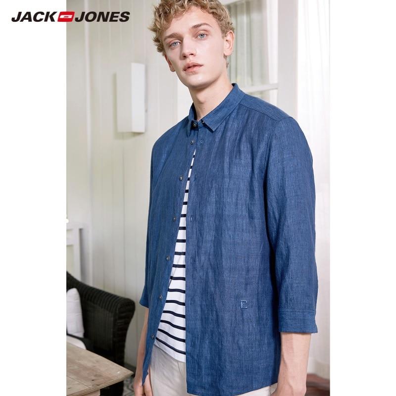 JackJones Men's 100% Linen Three Quarter Sleeve Shirt Basic Menswear 219131507