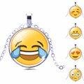 Новые Марка Ювелирные Изделия 13 Стиль Серебро с Покрытием из Стекла Кабошон Мило Emoji Шаблон Choker Долго Кулон Ожерелье для Женщин Подарок