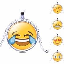 Кабошон длинное emoji pattern покрытием мило серебро колье стекла ожерелье марка