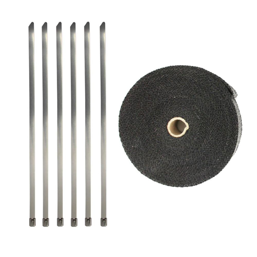 Купить с кэшбэком Fiberglass Exhaust Wrap Header Turbo Pipe High Heat Insulating Tape Black Car 10mx5cmx2mm  for Car Motorcycle Accessories