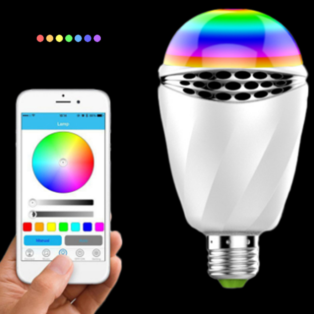 APP Control Colorful Light Bulb Bluetooth Speaker LED Music Bulb E27 Wireless Light Bulb Speaker