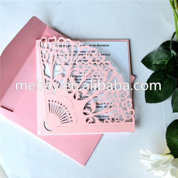 nicas de la boda forma de abanico de papel de la perla rosa de boda de boda del corte del laser