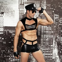 Men Sexy Lingerie Police Uniform Cosplay Costume Sexy Underwear Men Erotic Lingerie Porno Costumes Sexy Erotic Uniform Sets