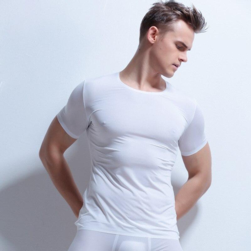 Sexy Men Ultra-thin Underwear Man Short Sleeve Summer Ice Silk Spandex Sheer Tight Undershirt + Shorts Soft Sleepwear Set