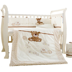 Комплект постельного белья из хлопка, 9 шт., Комплект постельного белья для новорожденных с изображением медведя из мультфильма, съемная сте...