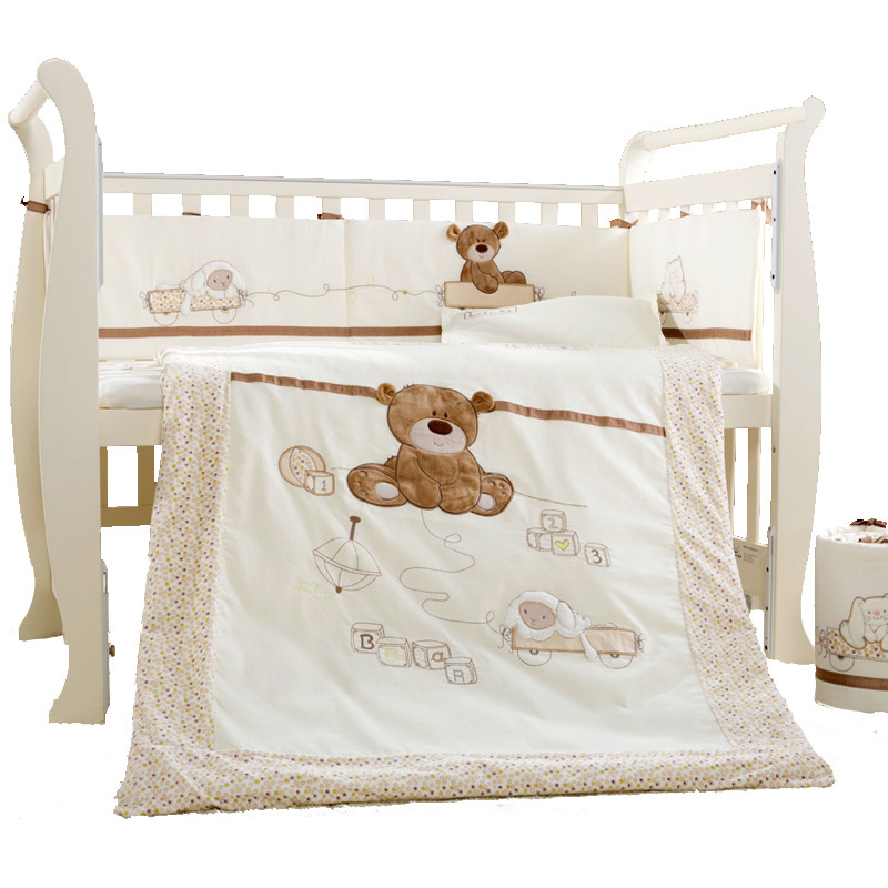 9Pcs Cotton Baby Cot Bedding Set Newborn Cartoon Bear Crib Bedding Detachable Quilt Pillow Bumpers Sheet Cot Bed Linen 4 Size