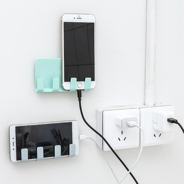 실용적인 벽 전화 홀더 소켓 충전 박스 브래킷 스탠드 홀더 mobiele telefoon # p