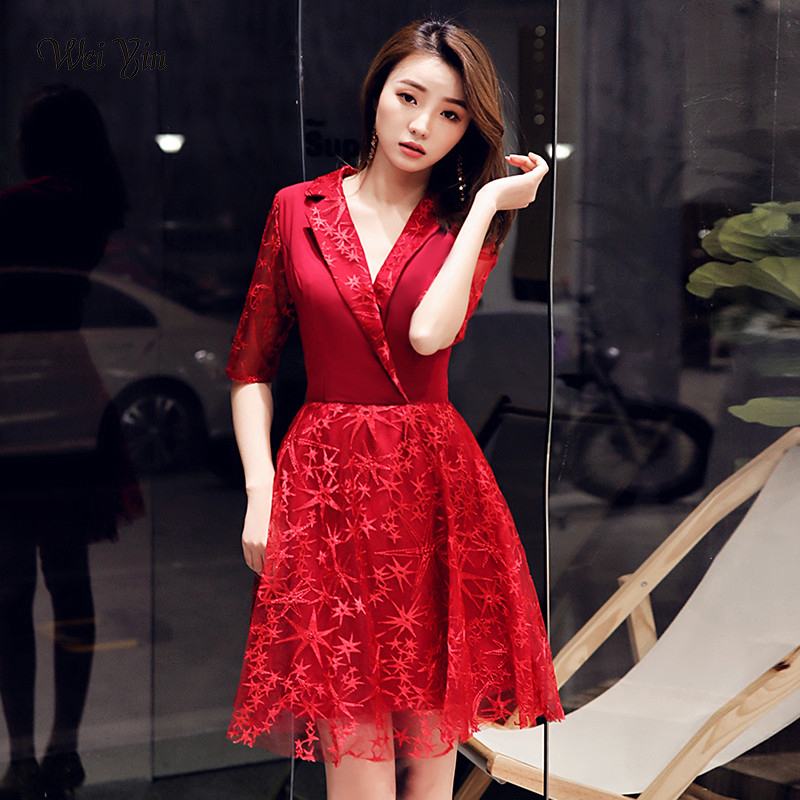 Wei Yin 2019 Sexy Mini Length Cocktail Dress Elegant A Line V Neck Half Sleeves Short Formal Dresses Vestido Coctel Mujer WY1588