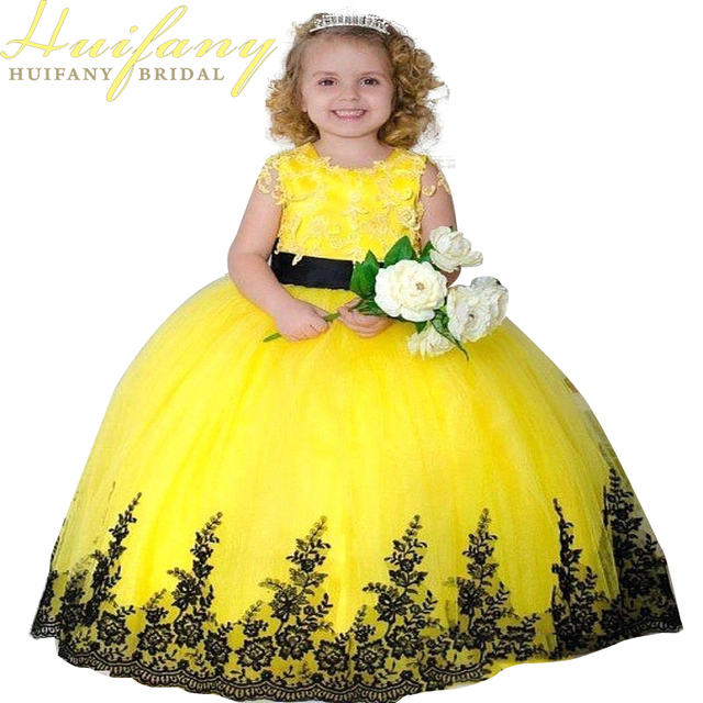 2018 Yellow Ball Gown Flower Girl Dresseswith Lace Appliqued Kids ...