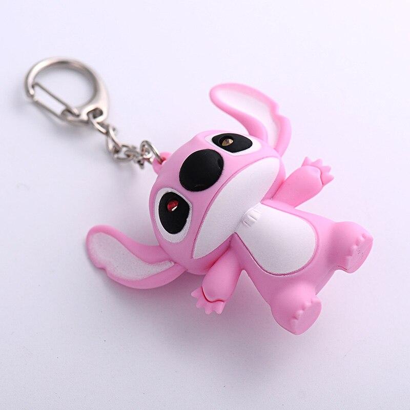 Anime Movie Cartoon Doll Voiced Sound LED KeyChain Animal Minions,Stitch, Owl,Pig,Cat,Hello Kitty KeyRing Car Trinket Key Chains