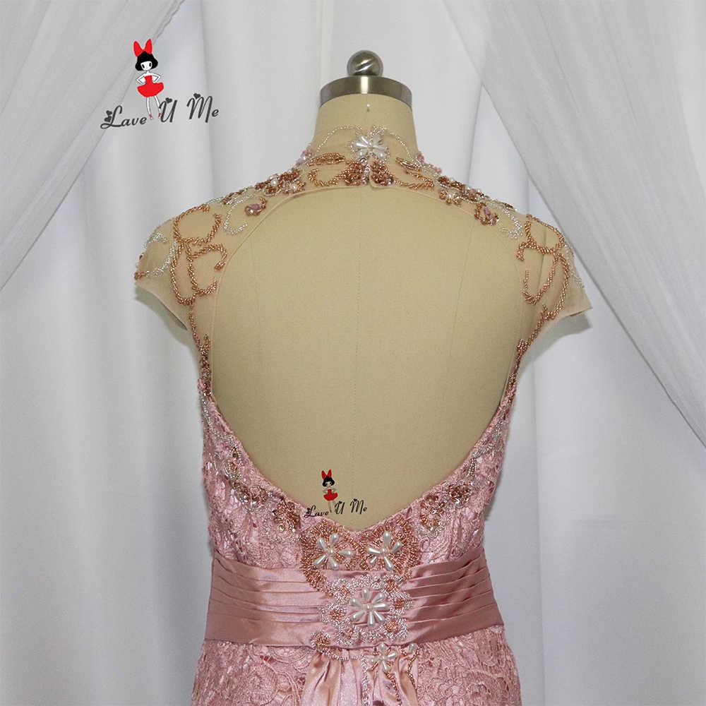 Elegante Rosa Longo Sereia Mãe da Noiva Vestidos de Renda 2017 Deus Mães Vestidos de Noite Formais Mulheres Talão Vestido de Madrinha