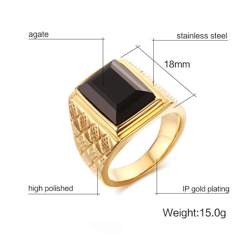 Vnox Men หินสีดำ Signet แหวน Rhombus Stylish ชายแหวนของขวัญเครื่องประดับ