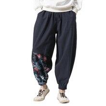 Хлопчатобумажные льняные кроссовые брюки гарем мужские брюки летние мужские с цветочным принтом Hawaii Брюки летние брюки